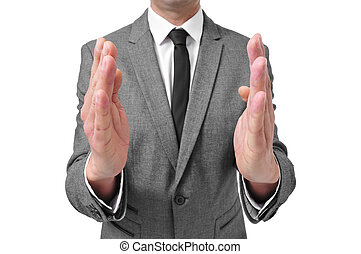 size matters - a man wearing a suit with his hands facing...
