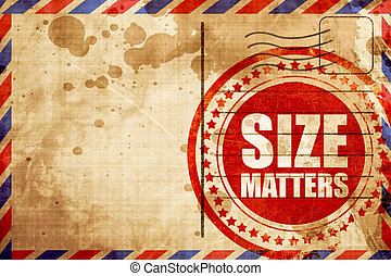 size matters, red grunge stamp on an airmail background