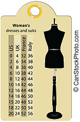 Sizes women dresses and suits - Label with international ...