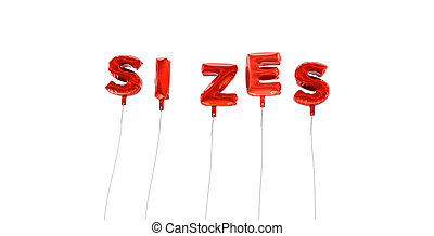 SIZES - word made from red foil balloons - 3D rendered.