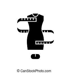 sizing, ilustração, -, isolado, sinal, vetorial, experiência preta, ícone, vestido, tamanho