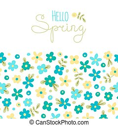 Sizon card Hello Spring with cute flowers. Vector ...