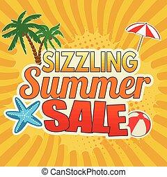 sizzling, zomer, verkoop, reclame, poster, ontwerp