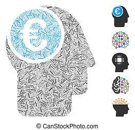 själ, ikon, euro, collage, tankstreck