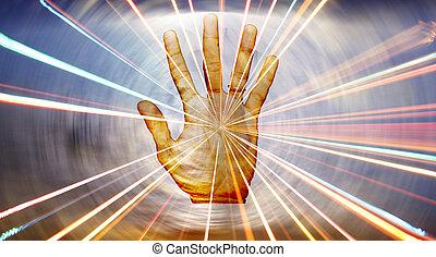 själslig, helbrägdagörelse, hand