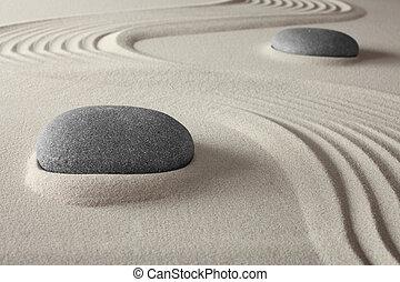 själslig, trädgård, zen, sand, vagga, kurort