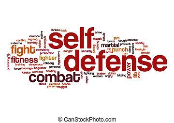 själv försvar, ord, moln