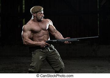själv, gevär, maskin, försvar, teckning, man