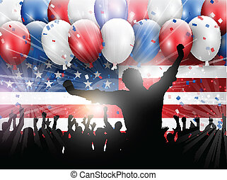 självständighetsdagen, 4th juli, parti, bakgrund, 0406