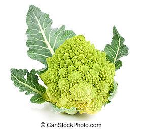 sjælden, broccoli., romanesco, broccoli, kål, isoleret, på...