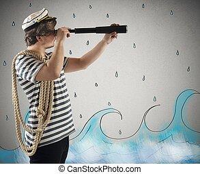 sjöman, med, den, teleskop