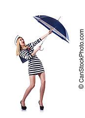 sjöman, paraply kvinna, vita