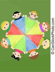 sjaal, cirkel, kleurrijke, kinderen, vasthouden