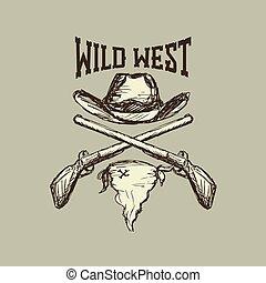 sjaal, hoedje, cowboy, geweer