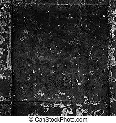 sjabbig, gammal, färgrik, trä, årgång, skalad, svart fond, dörr, yta
