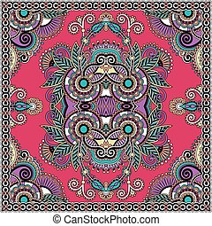 sjalett, fyrkant, hals, mönster formge, silke, autentisk, ...