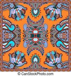 sjalett, fyrkant, hals, mönster formge, silke, eller, scarf