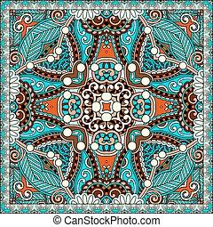 sjalett, fyrkant, hals, mönster, u, design, silke, autentisk...
