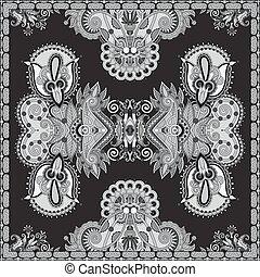 sjalett, fyrkant, klapp, hals, svart, vit, silke, autentisk...