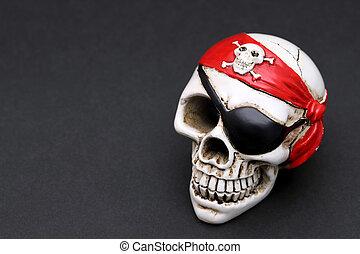 sjalett, huvud, sjörövare, kranium, röd