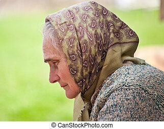 sjalett, kvinna, gammal