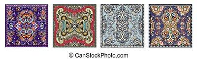sjalett, sätta, hals, mönster, fyrkante formge, silke, ...