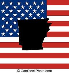 sjednocený, -, ilustrace, postavení, udat, arkansas, amerika
