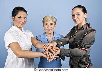 sjednocený, povolání, dohromady, jejich, ruce, ženy