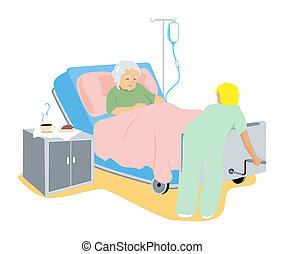 sjuk, äldre, klient