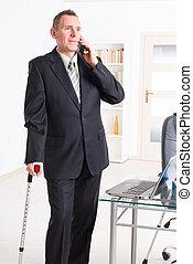 sjuk, affärsman, på arbete