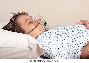 sjuk, barn, syrgasmask