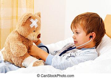sjuk barn, undersökta, teddy, med, stetoskop
