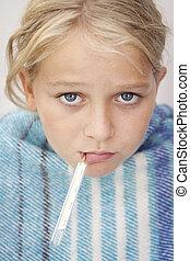 sjuk, flicka, med, feber