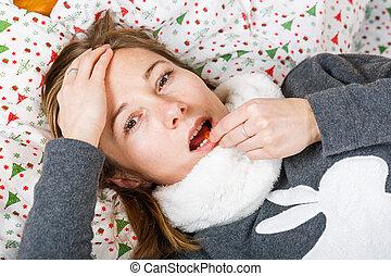sjuk kvinna, fik, influensa