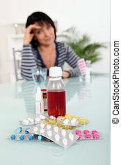 sjuk kvinna, med, förgiftar