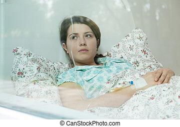 sjuk, kvinna, säng