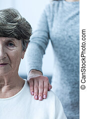 sjuk, kvinna,  Senior