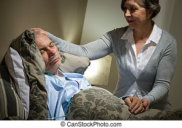 sjuk, lögnaktig, äldre bemanna, och, omsorgen, fru