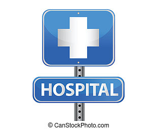 sjukhus, gatuskylt