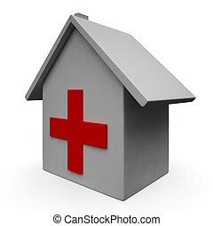 sjukhus, ikon, visar, nödläge, läkar hälsovårdscentral