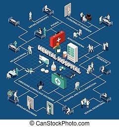 sjukhus, infographics, isometric, mental