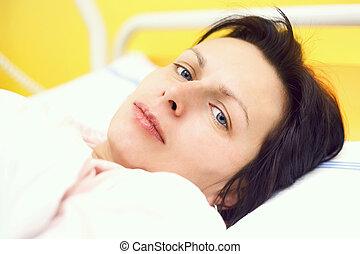 sjukhus, kvinna, medelålderst, lögnaktig, trist