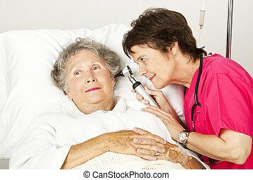 sjukhus, läkar undersökande