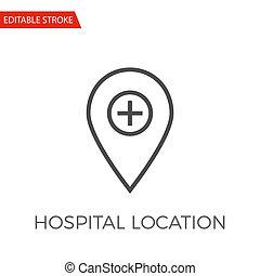sjukhus, lokalisering, vektor, ikon