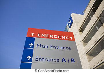sjukhus, nymodig, nödfall signera