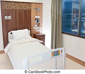 sjukhus, nymodig, tom, säng