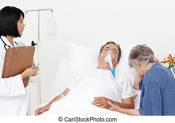 sjukhus, par, sköta
