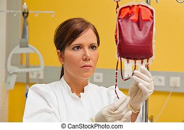 sjukhus, products., blod, sköta