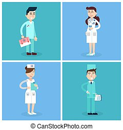 sjukhus, staff., läkare., illustration, team., vektor, hälsa, sköta, medicin, care., concept., professional., medicinsk