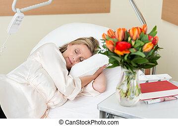 sjukhus, tålmodig, attraktiv, säng, kvinnlig